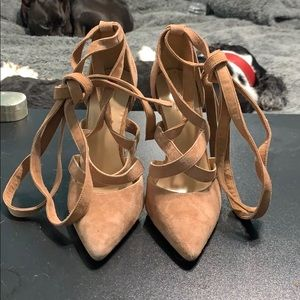 Tan suede lace up heels